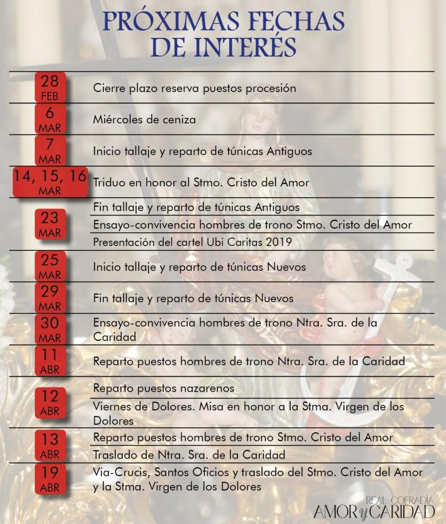 FECHAS DE CUARESMA 2019 - copia
